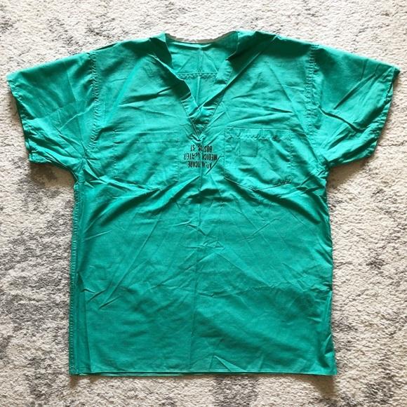 Women/'s Scrub Top Shirt Small Green /& Blue Short-Sleeved V-Neck Medline New
